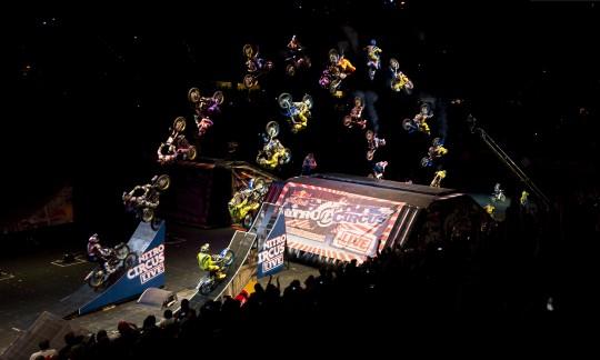 Two rider synchronized FMX double black flip e1307461512114 - Nitro Circus in Vegas