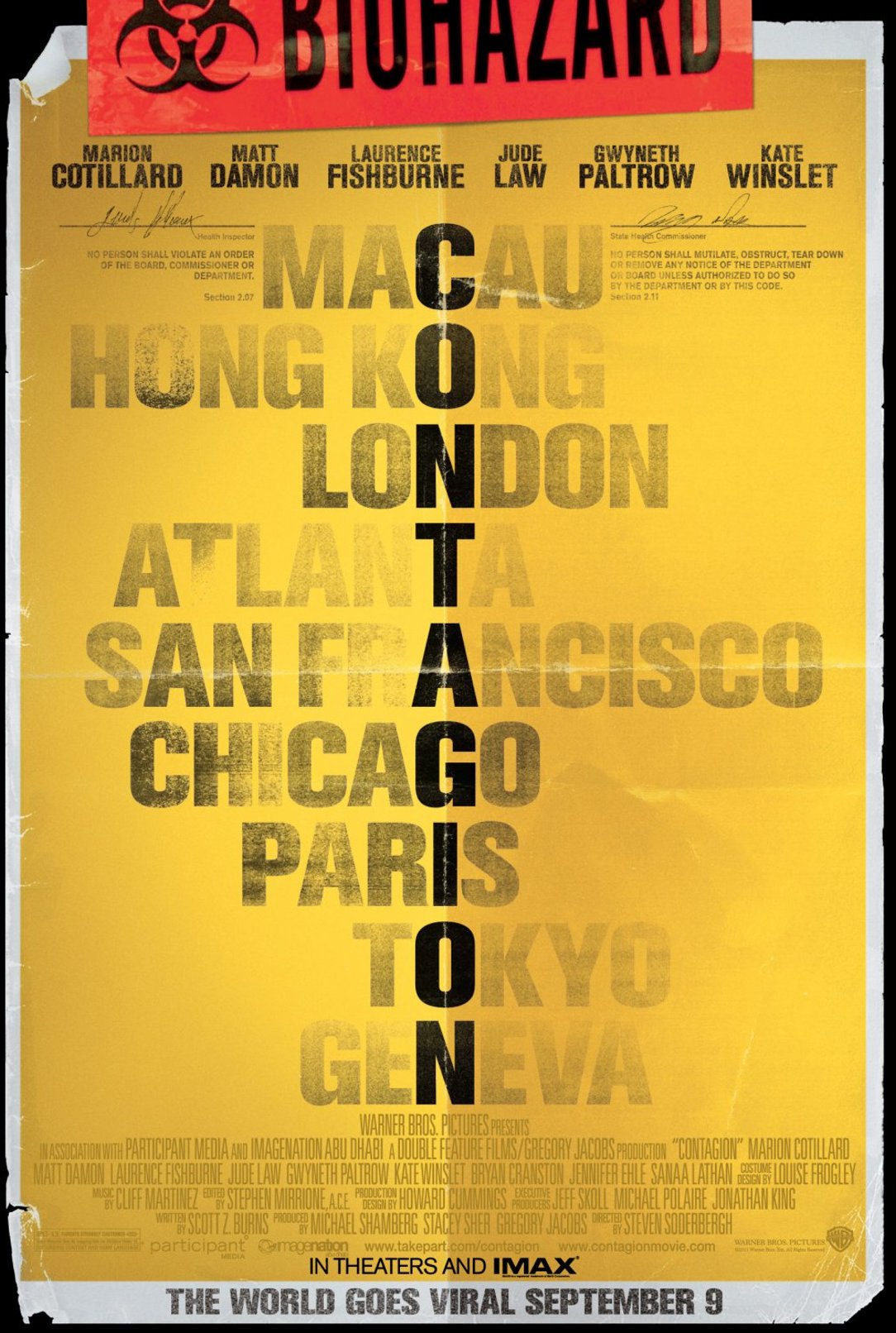 """contagion movie poster - """"Nothing Spreads Like Fear"""" Contagion Contest"""