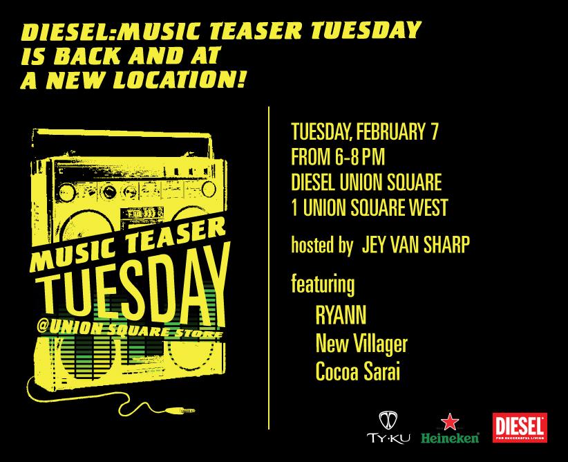 MTT evite 2.7 - Diesel Music Teaser Tuesdays Returns At New Location