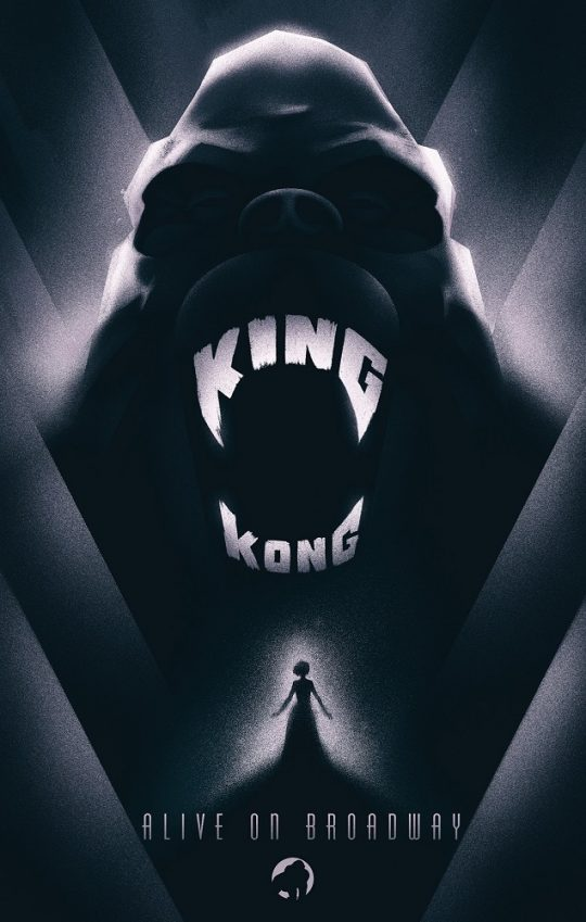 KingKongV1 540x849 - Broadway's King Kong reveals new poster art by Laurent Durieux, Francesco Francavilla and Olly Moss. @f_francavilla @ollymoss @Freecomicbook #fcbd #KingKong