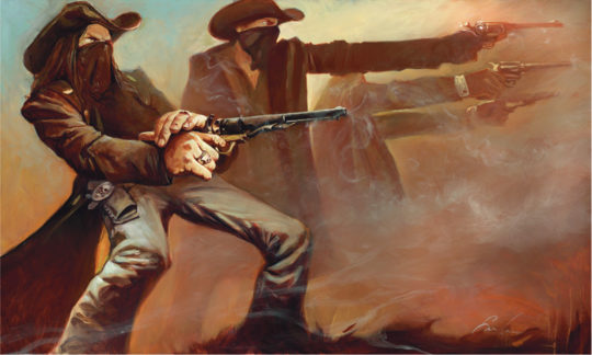 hr gabe leonard limited edition giclee gunfighter shootout 540x324 - Gabe Leonard: The Starting Line Exhibition October 12th - November 2, 2019 at #DistinctionGallery @GabeLeonardArt @DistinctionArt