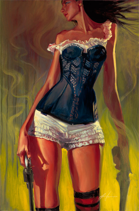 hr gabe leonard shot deputy female guns limited edition giclee canvas print - Gabe Leonard: The Starting Line Exhibition October 12th - November 2, 2019 at #DistinctionGallery @GabeLeonardArt @DistinctionArt