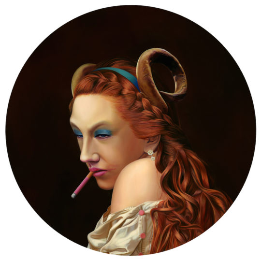 Dan Lydersen Bacchante Oil on round panel 24  round 540x540 - Corey Helford Gallery presents The Influence of Fellini: A Surreal 100th Birthday Celebration group exhibit January 25 - February 29, 2020 @coreyhelford