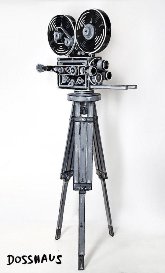 Dosshaus Film Camera with Tripod Cardboard paper acrylic 61.25  h x 27.75  w x 22  d 540x894 - Corey Helford Gallery presents The Influence of Fellini: A Surreal 100th Birthday Celebration group exhibit January 25 - February 29, 2020 @coreyhelford