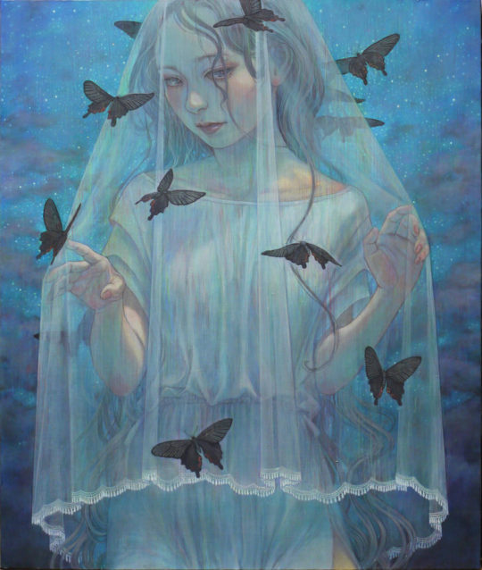Miho Hirano Dialogue Oil on canvas 29  x 24  540x638 - Corey Helford Gallery presents The Influence of Fellini: A Surreal 100th Birthday Celebration group exhibit January 25 - February 29, 2020 @coreyhelford