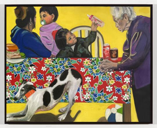 Jessica Alazraki bending down 2021 oil 41x53 540x440 - Jessica Alazraki - La Familia Exhibition  May 5 - 22, 2021 at Black Wall Street Gallery NYC