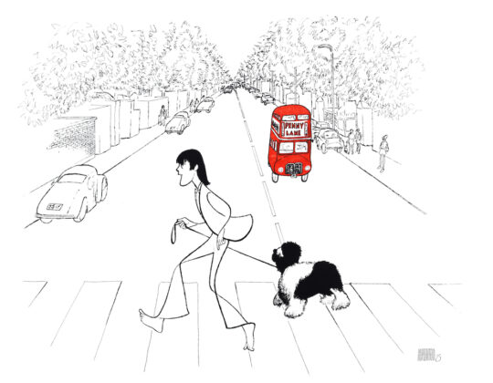 Paul McCartney High Res 540x420 - Al Hirschfeld Foundation presents a new online exhibition: THE DOG SHOW: HOUNDS BY HIRSCHFELD