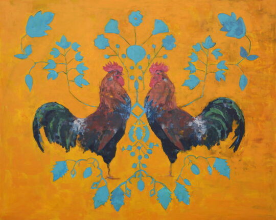 can you see the rooster on the moon 48x60 1 540x429 - Brian Keith Stephens: Almost True Tales Exhibition October 9 - 31, 2021 at Hugo Galerie